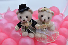 Wedding bears. Lovely teddy bears placed on the wedding car Royalty Free Stock Image