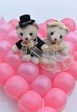 Wedding bears. Lovely teddy bears placed on the wedding car stock image