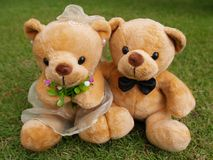 Wedding Bears on the Grass Royalty Free Stock Photography