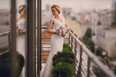 Wedding beautiful blond couple in restaurant Stock Photography