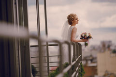 Wedding beautiful blond couple in restaurant Royalty Free Stock Photos