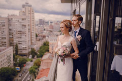Wedding beautiful blond couple in restaurant Royalty Free Stock Image