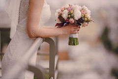 Wedding beautiful blond couple in restaurant Stock Photo