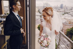 Wedding beautiful blond couple in restaurant Stock Image