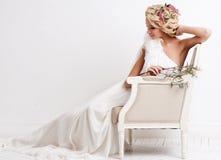 Wedding. Beautiful bride with bouquet Stock Photos