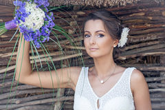 Wedding. Beautiful bride with bouquet. Young attractive bride portrait  with bouquet Stock Images