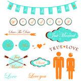 Wedding beautiful exclusive design elements for invitations, greeting cards vector. Royalty Free Stock Image
