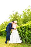 Wedding, Beautiful Romantic Bride and Groom Kissing and Embracing Stock Photo