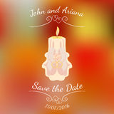 Wedding beige burning candle over abstract colorful blurred vector background. Wedding beige burning candle with two rings and rose over abstract colorful Stock Images