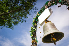 Wedding bell and decorative flowers Stock Images