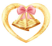 Wedding bells with hearts and a pink bow in a gold frame with a floral oriental ornament. Illustration Royalty Free Stock Photos