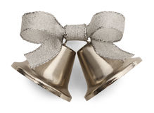 Wedding Bells. Silver Bells and Ribbon Isolated on White Background Stock Image