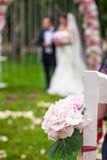 Wedding benches and flower for ceremony outdoors Stock Image