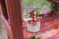 Wedding berries in jar. Decor closeup Royalty Free Stock Images