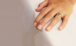 Wedding and betrothal ring. On hand Royalty Free Stock Image