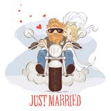 Wedding bikers Royalty Free Stock Photos