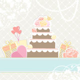 Wedding or birthday cake with gifts Stock Photography