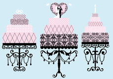 Wedding and birthday cakes, vector Stock Photo