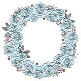 Wedding Birthday Holiday Party Floral Wreath BLUE ROSES royalty free illustration