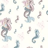 Wedding Birthday Holiday Party Merry Christmas New Year Seamless Pattern MERMAID SEAHORSE PATTERN vector illustration