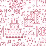 Wedding, birthday party seamless pattern, flat line illustration. Vector icons of event agency, organization - balloons Stock Photos