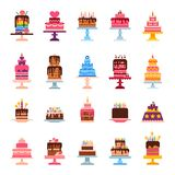 Wedding or Birthday pie cakes flat sweets dessert bakery ceremony delicious vector illustration. Stock Images