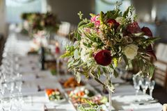 Table for enjoyment. Wedding Birthday Reception Decoration, Chairs, Tables and Flowers Stock Photography