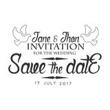 Wedding Black And White Invitation Card Design Template With Calligraphic Text With Doves Stock Image