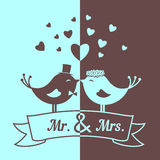 Wedding blue and brown birds Stock Image