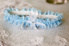 Wedding blue garter Royalty Free Stock Photography