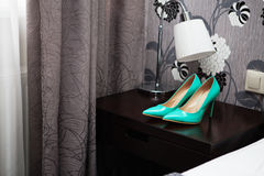 Wedding blue patent leather high-heeled shoes. Stock Photography