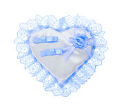 Wedding blue pillow for the rings Royalty Free Stock Image