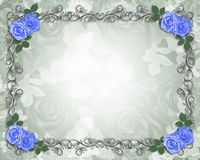 Wedding Blue roses border black Stock Image