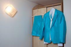 Wedding blue suit Royalty Free Stock Image