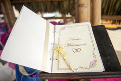 Wedding book for signatures Royalty Free Stock Photography