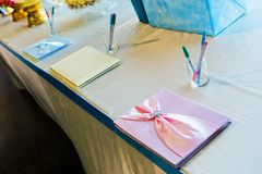 Wedding book signing. Royalty Free Stock Images