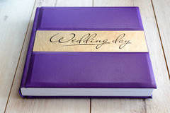 Wedding book on a wooden background Stock Image
