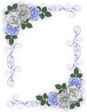 Wedding Border Blue roses vector illustration