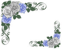Wedding Border Blue roses Royalty Free Stock Images