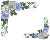Wedding Border Blue roses stock illustration