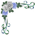 Wedding Border blue roses stock illustration