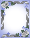 Wedding Border Blue roses and ribbons Royalty Free Stock Image