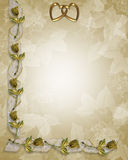 Wedding Border Gold Roses and ribbons. Image and Illustration composition for Wedding invitation, Frame, Valentine or Invitation Background with copy space Stock Photo