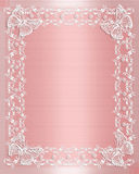 Wedding Border Pink Satin and lace. Wedding Invitation, Valentine, birthday or Anniversary Background of pink satin and illustrated lace and butterflies with Stock Photo