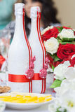 Wedding bottles of champagne. Two bottles of champagne decorated for a wedding Stock Image
