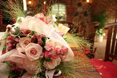 Wedding bouquet 1. Pink wedding bouquet on a table Stock Image