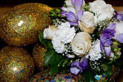 Wedding bouquet. Close up of wedding bouquet and accessories royalty free stock photo