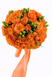 Wedding bouquet. Orange roses in a lush bouquet Royalty Free Stock Images