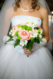 Wedding bouquet. The bride keeps her wedding bouquet, wedding ceremony Stock Photos