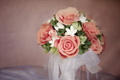 Wedding Bouquet. Wedding handmade bouquet with orange roses Stock Photos